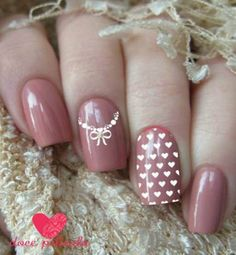 Películas ou Adesivos para Unhas Coleção Noivas Modelo Corações e Laço com Pérolas Feminine Style, Feminine Fashion, Gel Nail Art, Pretty Nails, Manicures, Nailart, Beauty, Winter Nails, Bride Nails