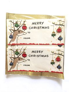 Vintage CHRISTMAS Gifts Tags Santa's Reindeer Shiny Brite Ornaments on Etsy