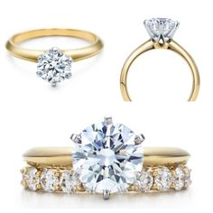 Exactly! Gold engagement ring, single diamond, round. With the gorgeous wedding band underneath to complete it.