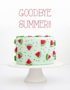 Watermelon Cake Pastel Sandia (Different Bake Ideas) Pretty Cakes, Cute Cakes, Beautiful Cakes, Amazing Cakes, Watermelon Birthday Parties, Fruit Party, Fondant Cakes, Cupcake Cakes, Bolo Tumblr