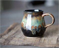 Pottery Coffee Mug Tea Cup Rustic Black Brown with by ElmStudios click the image or link for more info. Pottery Coffee Mug Tea Cup Rustic Black Brown with by ElmStudios click the image or link for more info. Stoneware Clay, Ceramic Cups, Ceramic Art, Pottery Mugs, Ceramic Pottery, Vases, Pottery Classes, Pottery Wheel, Kintsugi