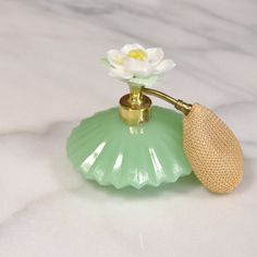 White Rose Flower, Perfume Atomizer, Antique Glassware, Beautiful Perfume, Vintage Perfume Bottles, Opaline, Vintage Green, Fragrance, Etsy