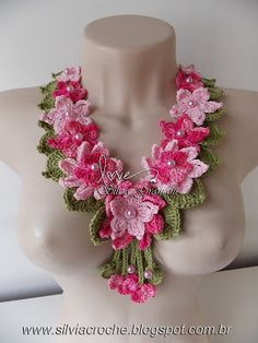 collar, crochet, crochet flower, flower necklace, crochet flower necklace, pink necklace, women necklace,