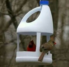 55 New ideas for garden diy recycle crafts Pet Bottle, Bottle Art, Bottle Crafts, Milk Jug Crafts, Diy Arts And Crafts, Home Crafts, Plastic Milk, Diy Bird Feeder, Bird Houses Diy