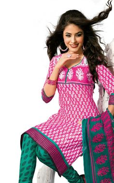 PINK & GREEN COTTON SALWAR KAMEEZ - DISH 1004