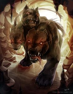 Cerberus, the giant 3 headed dog, lives and guards in the under world.well known for its ability to ward off and tresspassers that try to cross through and get to close to Hades, the god of the underworld ( hell ) Greek And Roman Mythology, Greek Gods, Magical Creatures, Fantasy Creatures, Tatoo Manga, Vampire, Mythological Creatures, Gods And Goddesses, Fantasy Art