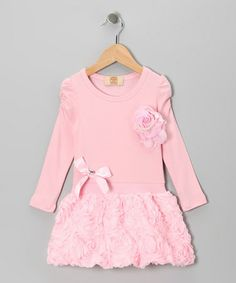 Take a look at this Pink Ruffled Rose Dress - Toddler & Girls by Mia Belle Baby on #zulily today!