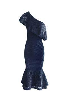 Vestido Tricot Ombro Só Babados Azul Indigo | Galeria Tricot - Galeria Tricot