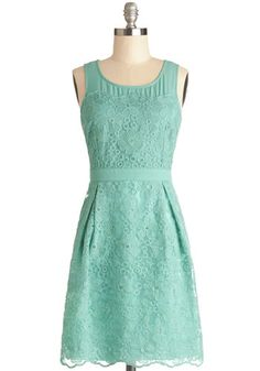 Sprigs of Spring Dress - Sheer, Woven, Mid-length, Mint, Solid, Embroidery, Wedding, Daytime Party, Bridesmaid, Sheath / Shift, Tank top (2 ...