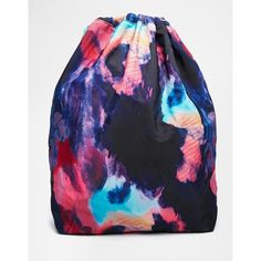 Monki Mimmi Nylon Drawstring Duffel Bag ($16) ❤ liked on Polyvore featuring bags, luggage and space print
