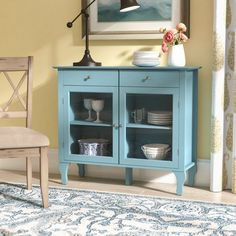 Add a pop of pleasing color to your formal dining room or open concept eat-in kitchen with this attractive accent server. Made from manufactured wood and pine in an attractive antique blue finish, this Kitchen Buffet, Sideboard Buffet, Kitchen Decor, Buffet Tables, Kitchen Dining, Kitchen Ideas, Apartment Furniture, Dining Room Furniture, Furniture Design