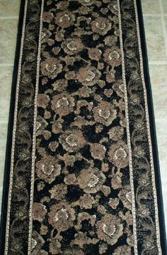 "153123 - Rug Depot Traditional Oriental Stair Runner Remnant - 26"" x 26'4 - Black Background - Symphony 2884 Black - Hallway Runner ON SALE - FREE Serging Applied on Ends - Rug Runner is Machine-Made of 100% Polypropelene - 1 Million Points - T-7 Quality Rating - Custom Stair Runners and Hall Runners by Rug Depot. $289.00. FREE Serging applied on all ends.. For Custom Stair or Hall Runners, call Customer Service at 800-733-4784.. Material - 100% Polypropelene...."