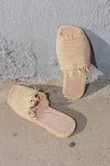 Straw Slippers Natural - Little Liffner