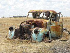 L'Australie, Utilitaire Ancien, Vieille Voiture, Épave