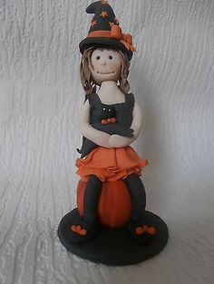#Edible sugar paste little witch, cake #topper, girl, boy, halloween #decoration ,  View more on the LINK: http://www.zeppy.io/product/gb/2/172336051031/