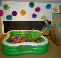 Perfect for tactile and proprioceptive seekers. Turn this into a life-size sensory bin? Throw in larger letters and numbers? Give kids a scuba mask and ask them to go diving? So much fun!
