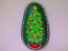Christmas Tree Painted Rock