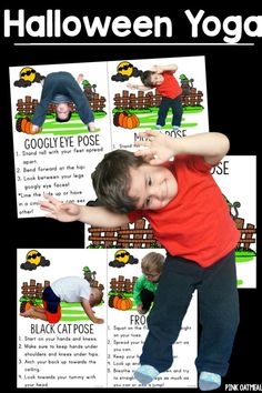 Yoga for kids with Halloween theme!  Yoga poses are all associated with Halloween like black cat and moon pose!