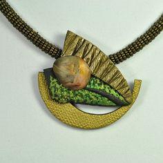 Handmade Polymer Clay and Pewter Pendant Necklace por jangeisen, $54.00