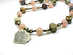 Etsy - Bohemian handknotted necklace w Hill Tribe Silver pendant, Bohemian jewelry, pink aventurine, silver, boho chic