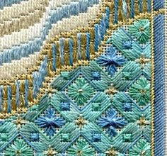 """Nov 23, 2018 - CALLING ALL BEACH LOVERS: If you're a stitcher who enjoys doing geometrics, you'll understand my newest design, called """"SAND & SEA PANEL""""... #colourcomplements #stitchdesign #stitchpattern"""