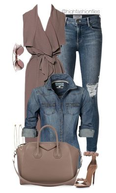 """Denim x Muted Grey"" by highfashionfiles ❤ liked on Polyvore featuring Frame Denim, Givenchy, Alaïa, Dean Harris and Christian Dior"