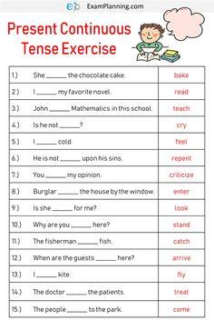 Present Continuous Tense Exercises - crossword - English Grammar For Kids, English Grammar Tenses, Teaching English Grammar, English Lessons For Kids, English Worksheets For Kids, English Verbs, English Phrases, English Language Learning, English Vocabulary