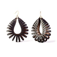 Nautilus Leather Earrings in black - Kristina Michelle Jewelry