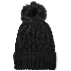 Eugenia Kim Andrea faux fur-trimmed cable-knit alpaca beanie (830 RON) ❤ liked on Polyvore featuring accessories, hats, black, cable knit beanie hat, cable hat, alpaca beanie, beanie hats and cable knit hat