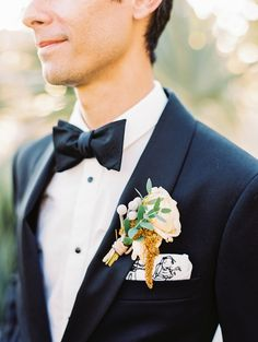 Tropical boutonniere: http://www.stylemepretty.com/2017/02/27/this-is-how-you-do-tropical-elegance-in-los-cabos/ Photography: Sally Pinera - http://sallypinera.com/