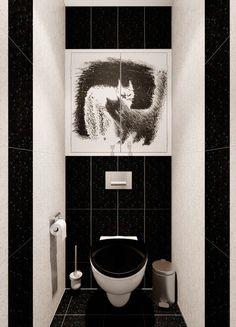 Черный дизайн туалета Дизайн интерьер новосибирск