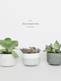 DIY Mini Granite Succulent Pots