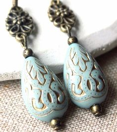 #clipon Beautiful Duck Egg Blue dangle earrings, lovely vintage etched teardrop bead on antique gold filigree link. Choose from hooks for pierced ears or for