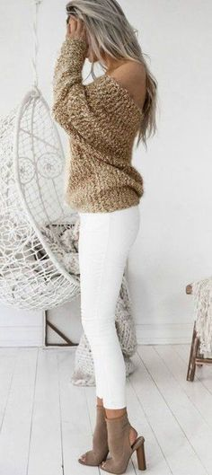 #winter #outfits brown cold-shoulder sweater
