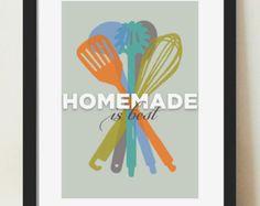 Kitchen Wall Art, Mid Century Kitchen Art, Art for Kitchen, Culinary Art, Colorful Kitchen Art