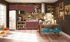 Cozinha Modulada com 5 Módulos, Paneleiro, Mesa, 2 Cadeiras e Banco Turquesa/Rustic/Avelã/Açaí/Desenho de Granito Pret - Caaza