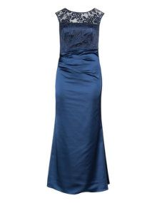 Weise Lace satin draped evening gown in Dark-Blue