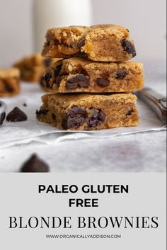 These Paleo Blonde Brownies are the best! This easy and healthy recipe is great for dessert. These Blondies are Paleo, Grain Free, Gluten Free, and naturally sweetened. #recipeoftheday #dairyfree #grainfree #popsugarfitness #healthyrecipe #glutenfreefood #wheatfree #celiac#homecook #healthyfood #foodtographyschool #foodtography #foodphotography #foodblog #foodblogger Paleo Dessert, Healthy Dessert Recipes, Gluten Free Desserts, Fun Desserts, Delicious Desserts, Yummy Food, Paleo Sweets, Sweets Recipes, Paleo Baking