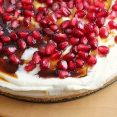 no-bake greek yogurt cheesecake with pomegranate syrup