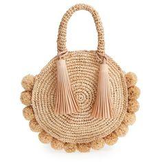 Women's Loeffler Randall Straw Circle Tote (14,575 DOP) ❤ liked on Polyvore featuring bags, handbags, tote bags, natural, handbags totes, tassel purse, straw purse, woven tote bags and woven straw handbags