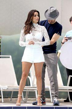 Eva Longoria flashes her bra in sheer lace top at Cannes photoshoot Eva Longoria Style, Look Fashion, Fashion Outfits, Look Con Short, Sheer Lace Top, Celebs, Celebrities, Sexy Legs, Celebrity Style