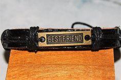 bracelet homme / femme réglable cuir et médaille de bronze