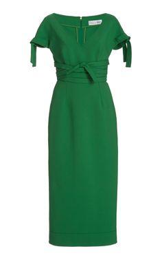 Tie-Detail Wool-Blend Pencil Dress by OSCAR DE LA RENTA for Preorder on Moda Operandi