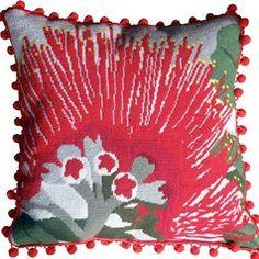 Pohutukawa Flower Needlepoint Cushion Kit - Product of New Zealand, Needlepoint Kits, Needlepoint Stockings, Needlepoint Pillows, Needlepoint Canvases, Needlepoint Designs, Needlepoint Kits, Kit S, Tapestry Kits, Kiwiana, Red Flowers
