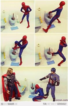 comic with action figures showing Thor being a dick by using his hammer to block the toilet 34 Marvel Memes Stan Lee Would Appreciate - Funny memes that Avengers Humor, Marvel Jokes, The Avengers, Films Marvel, Funny Marvel Memes, Dc Memes, Marvel Dc Comics, Funny Comics, Funny Memes