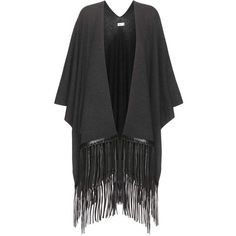 Vince Embellished Wool and Cashmere Cape ($590) ❤ liked on Polyvore featuring outerwear, cape, grey, grey cape, cashmere capes, embellished cape, woolen cape and cape coat