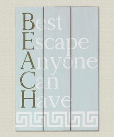 Blanched Blue Wooden 'Beach' Wall Sign