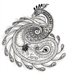 very nice zentangle style sketch.paisley peacock by ladyegg Paisley Tattoos, Paisley Tattoo Design, Geometric Tattoos, Peacock Tattoo, Peacock Art, Mandala Tattoo, Peacock Sketch, Henna Peacock, Peacock Logo