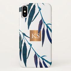 Blue watercolor leaves metallic copper monogram iPhone x case - simple clear clean design style unique diy