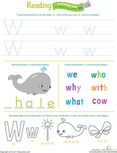 Get Ready for Reading: All About the Letter W | Worksheet | Education.com